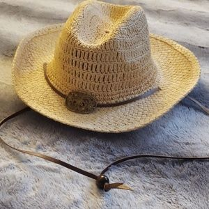 SOLD Cowboy Straw Hat With Flower Emblem Buckle